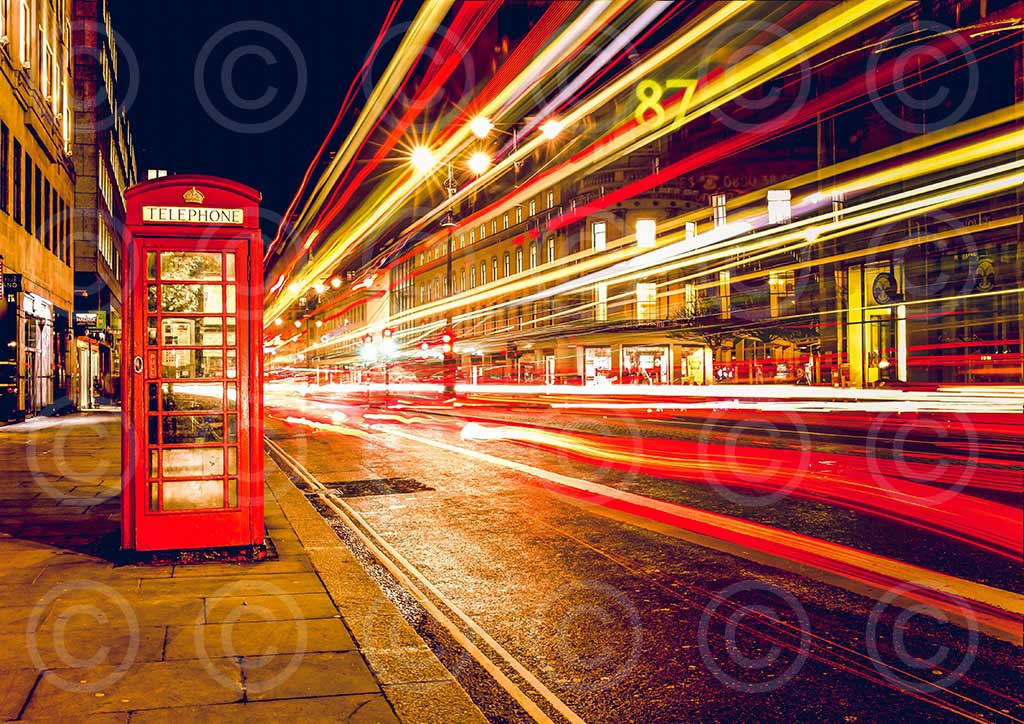 Watermarked image of red telephone box with copyright watermark faded.